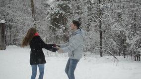 Par som är förälskade i en snöig skog stock video