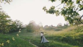 Par som är förälskade i träna på solnedgången arkivfilmer
