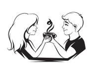 Par som är förälskade med kaffe vektor illustrationer