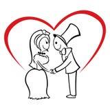 Par som är förälskade på bröllop royaltyfri illustrationer