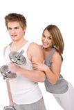par som övar sunda vikter för kondition Royaltyfri Fotografi