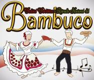Par som dansar Bambuco med traditionella dräkter i den colombianska Folkloric festivalen, vektorillustration Arkivbild