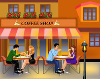 Par som dricker kaffe i stad stock illustrationer