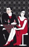 Par som dricker vinrankan i kafé Arkivfoton