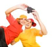 par som fotograferar sig som är unga Arkivfoton