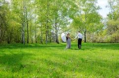 Par som går i en äng arkivbild