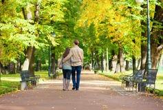 Par som går i park vid fall royaltyfria bilder