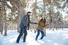 Par som går i vintern, parkerar Royaltyfri Bild