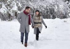 Par som går på insnöad skog royaltyfria bilder