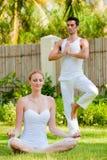 Par som gör Yoga royaltyfri bild