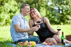 par som har picknicken Arkivbilder