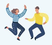 Par som hoppar glatt med deras händer upp vektor illustrationer