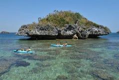 par som kayaking Fotografering för Bildbyråer
