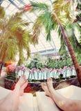 Par som kopplar av i tropisk miljö Royaltyfri Foto