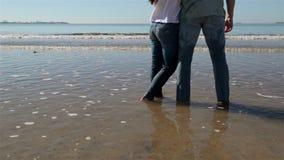 Par som kramar på soluppgång för bakgrundsstrandhav Folk som kelar och ser på Seascape för bakre sikt Par tycker om solnedgång stock video
