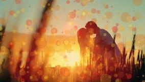 Par som kysser i solnedgången lager videofilmer