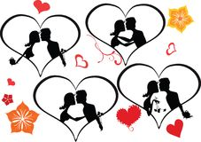 par som kysser set silhouettes Royaltyfri Illustrationer