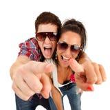 par som pekar att skrika till dig Royaltyfri Fotografi