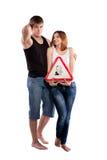 Par som rymmer en kudde Arkivfoton
