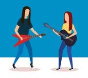 Par som spelar elkraft och den akustiska gitarren royaltyfri illustrationer