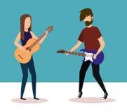 Par som spelar elkraft och den akustiska gitarren vektor illustrationer
