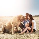 Par som spelar med hunden på stranden. Royaltyfri Foto