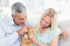 Par som spelar med katten i vardagsrum Royaltyfri Bild