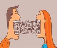 Par som talar och delar en konversation royaltyfri illustrationer