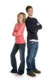 par som tillsammans plattforer tonårs- Royaltyfria Foton