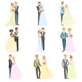 Par som tillsammans poserar på bröllopdag Arkivbilder