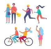 Par som tillsammans rider vektorillustrationen för cykel royaltyfri illustrationer