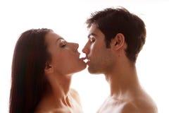 par som tycker om den erotiska kyssen Arkivbild