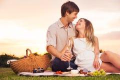 Par som tycker om den romantiska solnedgångpicknicken Royaltyfri Fotografi