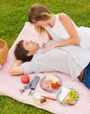 Par som tycker om den romantiska solnedgångpicknicken Arkivfoto