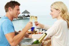 Par som tycker om mål i sjösidarestaurang Arkivbilder