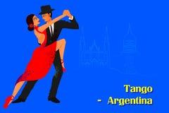 Par som utför tangodans av Argentina Arkivbild