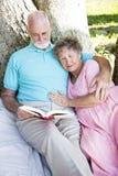 par som utomhus tillsammans läser pensionären royaltyfri bild