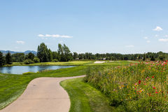 Par three. Tee box view of a beautiful par 3 golf hole in Jackson, Wyoming Stock Image