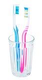 Par toothbrushes w szkle Obrazy Stock