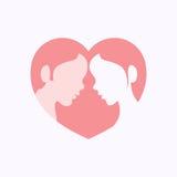 Par twarze w serce kształtnej sylwetce Zdjęcie Royalty Free