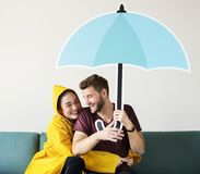 Par under en paraplysymbol royaltyfri foto