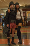 Par utan flåsanden i den fackliga stationen under Royaltyfria Foton