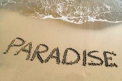 Paraíso da palavra na praia Imagem de Stock Royalty Free
