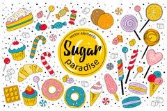 Paraíso do açúcar - coleção doce do vetor Imagem de Stock Royalty Free