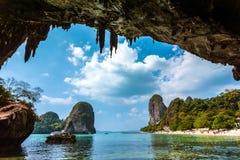 Paraíso na praia Tailândia de Railay Fotos de Stock