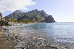 Paraíso preto da praia da areia no La Aldea, Gran Canaria Fotografia de Stock Royalty Free