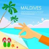Paraíso tropical das férias de verão da ilha de Maldivas Fotos de Stock Royalty Free