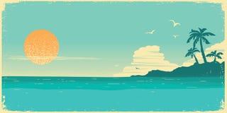 Paraíso tropical de la isla Fondo del cartel del vintage con las palmas y las ondas del mar stock de ilustración