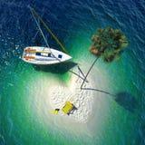 Paraíso tropical en una pequeña isla stock de ilustración