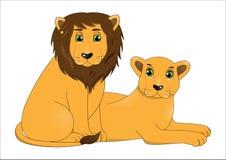 Para śliczni kreskówka lwy ilustracja wektor